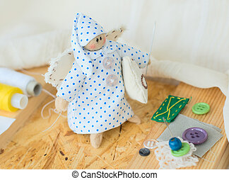 Rag-doll - Funny handmade rag-doll with yarn and needles