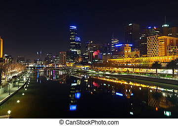 Downtown of Melbourne at night