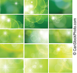 business cards - Green business cards collection, editable...