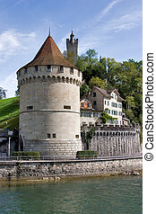 Loyal guard - Round stone tower on Lucerne lake shore