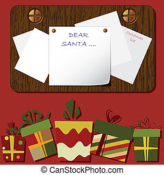 Christmas background with gift boxes and letter for Santa