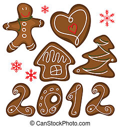 Christmas cookies isolated on the white. Vector set