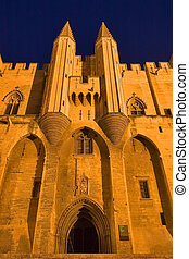 Main gate - Middle-aged popes palace in Avignon at night