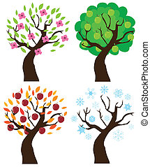 Apple trees - Vector illustration of apple trees