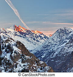 French Alps at sunset