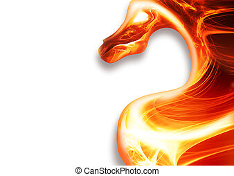fire dragon - abstract fire dragon on a white background