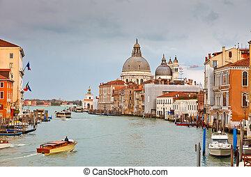 canal, lluvioso, magnífico, Venecia, día