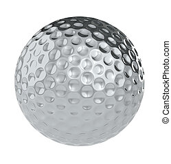 A Golf Ball of silver. Isolated