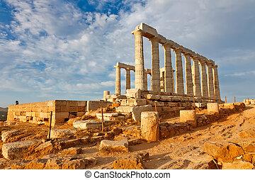 Templo,  Poseidon, ruínas, Grécia