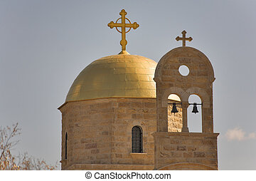 Belltower. - The dome of orthodox church shined by the sun...