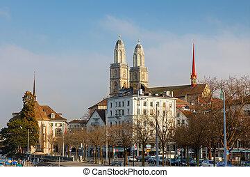 Zurich city, Switzerland. Grossmunster cathedral