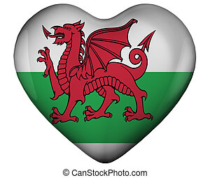 Heart with flag of wales