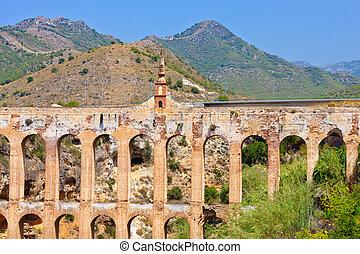 Old aqueduct in Nerja, Costa del Sol, Spain