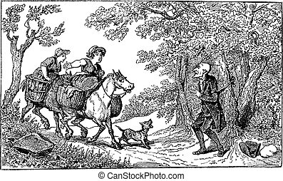 Dr. Syntax tied with a rope and two horseback village women approach with a barking dog vintage engraving.