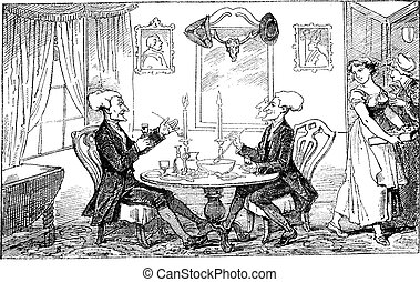Dr Syntax and his counterpart vintage engraving. - Old...