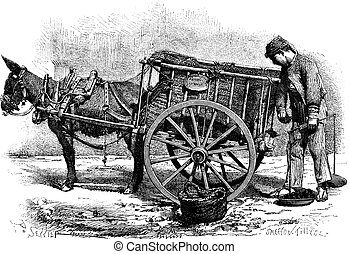 The coal merchant drawing by Sellier- Valencia Spain vintage engraving.