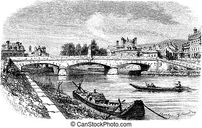 The Bridge of Clamecy (department of Nievre) and the bust of Jean Rouvet, France vintage engraving.