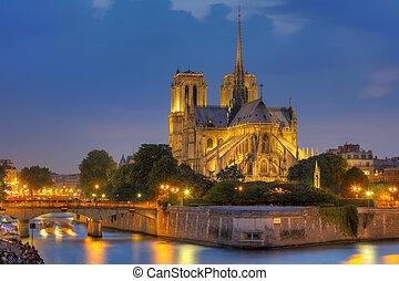 notre, senhora, Paris, noturna
