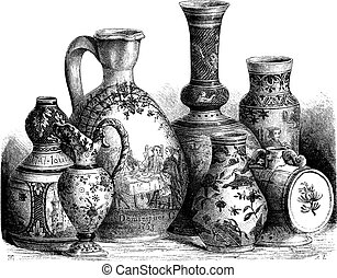 Various earthenware of Nevers faience (Tin-glazed pottery)...
