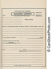 Building licence planning permission permit - Vintage blank...