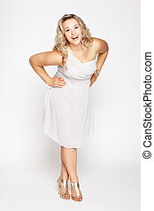 beautiful plus size woman - full-length portrait of...