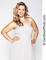 beautiful plus size woman - portrait of beautiful plus size...