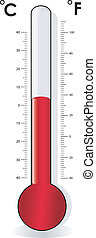 Thermometer celsius, fahrenheit - Thermometer vector,...