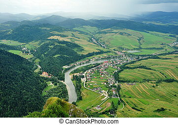 Dunajec countryside - view from Three Crows hilltops,...