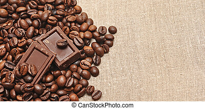 coffee beans and chocolate on bagging
