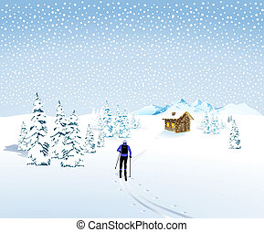winter landscape with a skier and mountain hut