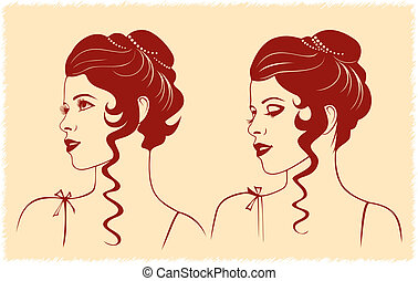 Woman face profile silhouette - Vector illustration of woman...