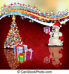 Christmas greeting with snowman gifts and tree