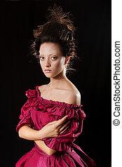 Stylized baroque portrait of beautiful brunette woman in...