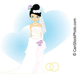 Elegant bride in Blue.Illustration