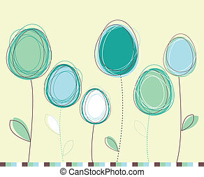Easter eggs-flowers card
