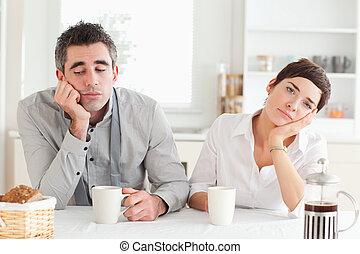 aburrido, pareja, bebida, café