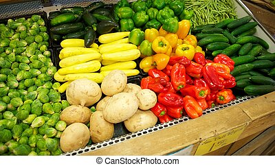 Grocery Store Bin full of brightly colored produce