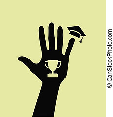 A silhouette of a hand with goblet and mortarboard at...