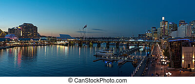 Darling Harbour - night panorama photo of Darling Harbour in...