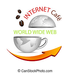 Internet cafe icon - Abstract business globe in shape of a...
