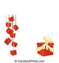 Red gift boxes hanging on chains - Vector elements on white...