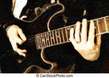 Musician plays electrical guitar looks line an oil painted...