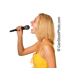 Beautiful young girl singing a song