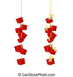 Gift boxes hanging on a chain - Christmas and birthday...