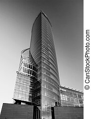 Monochrome picture of an office building