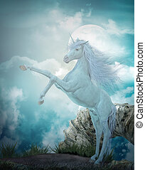 last unicorn - 3d render of a beautiful unicorn