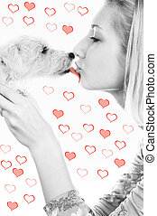 Blond girl with a sweet puppy on abstract heart background
