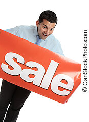 Happy businesman or saleman with sale sign - A happy...