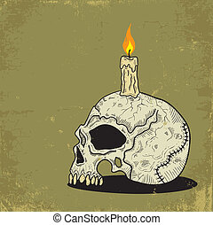 Skull with Candle - Illustration of a skull with a candle