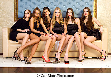 Group of beautiful models - Six beautiful sexy models are...